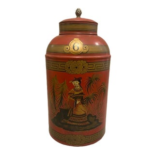 Hand Painted Chinoiserie Tole Canister For Sale