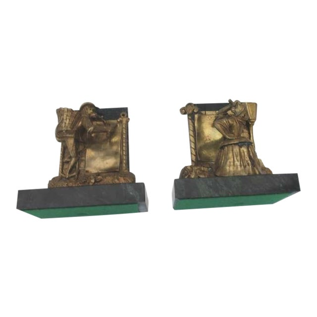 Pair of Bronze Monkey and Green Marble Bookends For Sale