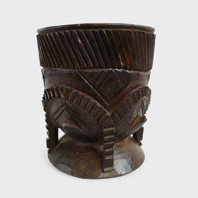 Original wood carved Nupe pot from Nigeria. Large size used for storing mixtures and typical Muslim Islamic geometrical...