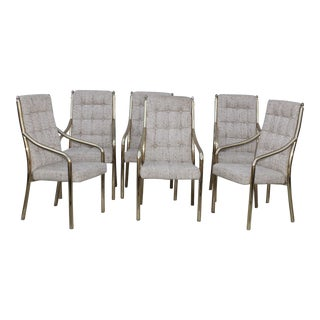 1980's Modern Brass Dining Chairs Set of Six For Sale
