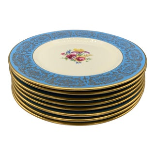 Vintage Gold Foilage Floral Dinner Plates - Set of 8 For Sale
