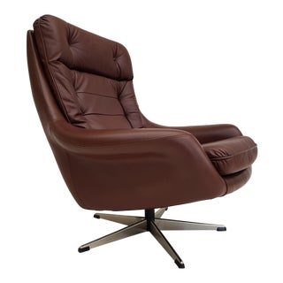 Danish Swivel Armchair, 70s, Leather, Original Upholstery, Very Good Condition For Sale
