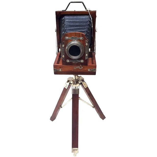 Vintage Nickel Plated Brass Camera with Tripod Stand Replica For Sale - Image 4 of 7