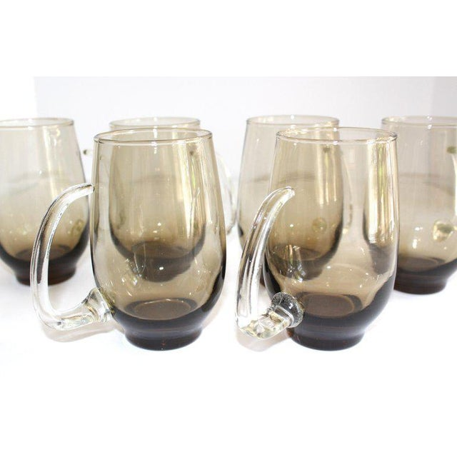 Gothic Set of Six Mid-Century Modern Tinted Glass Mugs by Libbey Glass Co. For Sale - Image 3 of 13