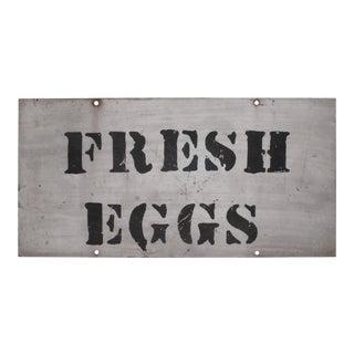 VIntage Metal Fresh Eggs Sign For Sale