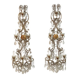 Italian Beaded Wall Sconces - a Pair For Sale