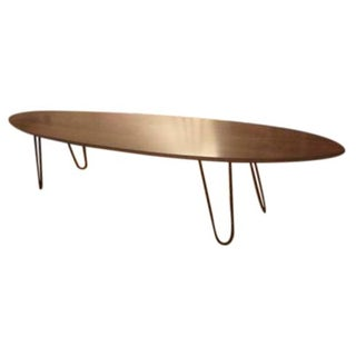 Surfboard Coffee Table with Hairpin Legs For Sale