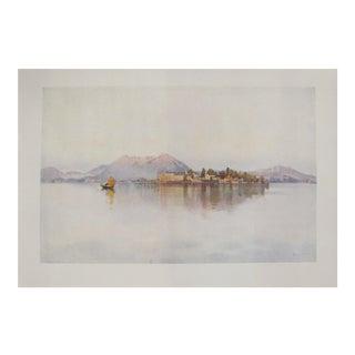 1905 Original Italian Print - Italian Travel Colour Plate - Isola Bella, Lago Maggiore For Sale