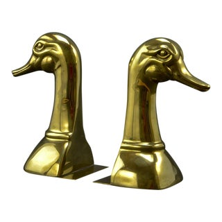 Pair of Solid Brass Duck Head Book Supports by Sarreid, USA, 1970s