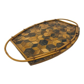 Italian Modern Tumble Block Marquetry Bamboo Tray For Sale