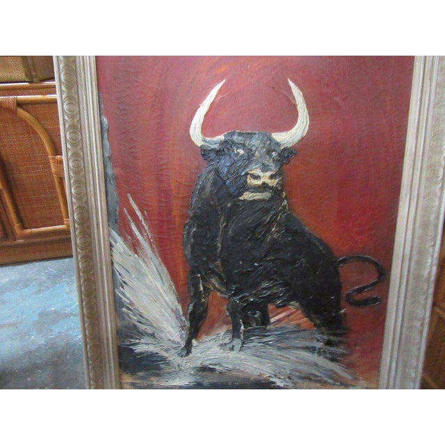 Thick Vintage Bull Painting - Image 2 of 7