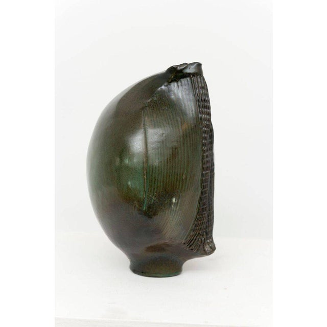 Green Sassi Milici Dark Green Ceramic Vase For Sale - Image 8 of 9