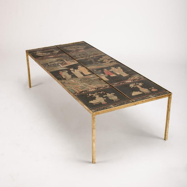 Vintage Chinoiseries Top Coffee Table With Leather Trim For Sale - Image 9 of 11