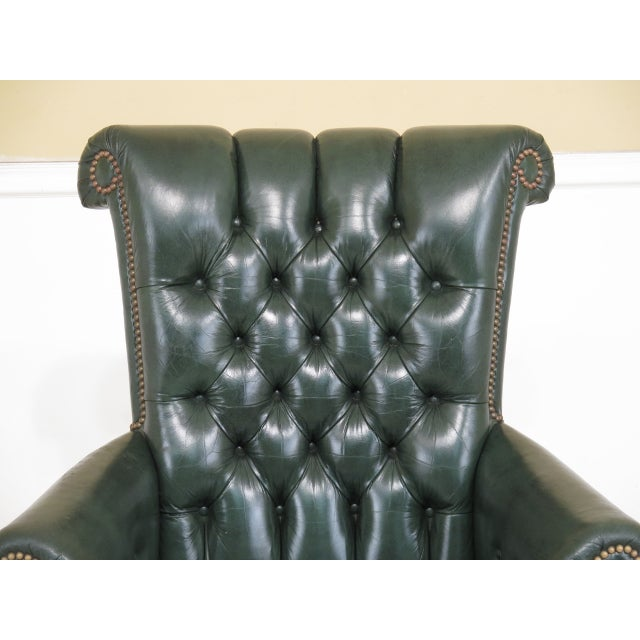 Animal Skin Kittinger Tufted Green Leather Office Chair For Image 7 Of 13