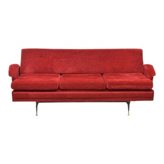 1960's Italian Mid-Century Modern Red Sofa Bed