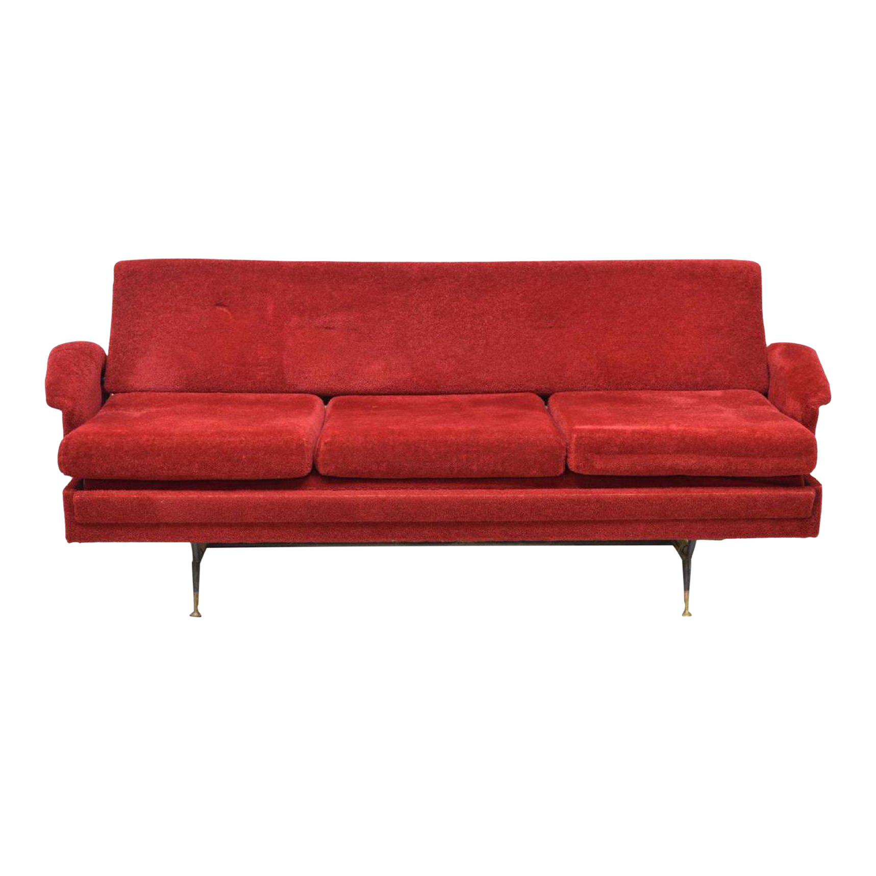 1960u0027s Italian Mid Century Modern Red Sofa Bed