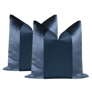 "Prussian Blue Velvet & Silk Panel 22"" Pillows - a Pair For Sale"