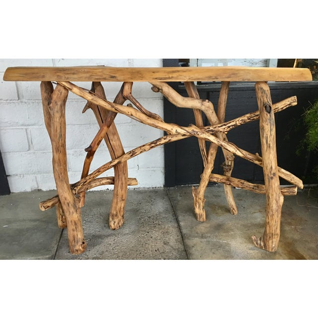 Cabin Lodge Live Edge Branch Base Console For Sale - Image 3 of 12