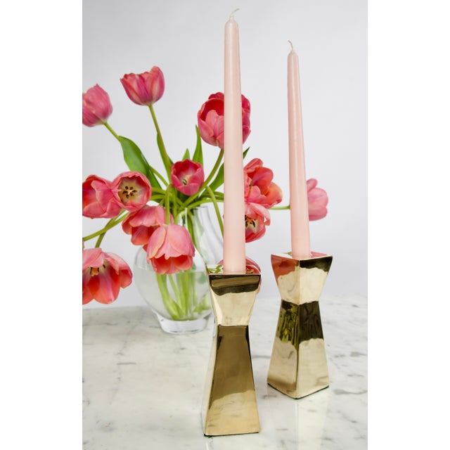Mid-Century Modern Vintage Modern Brass Candlesticks - A Pair For Sale - Image 3 of 7