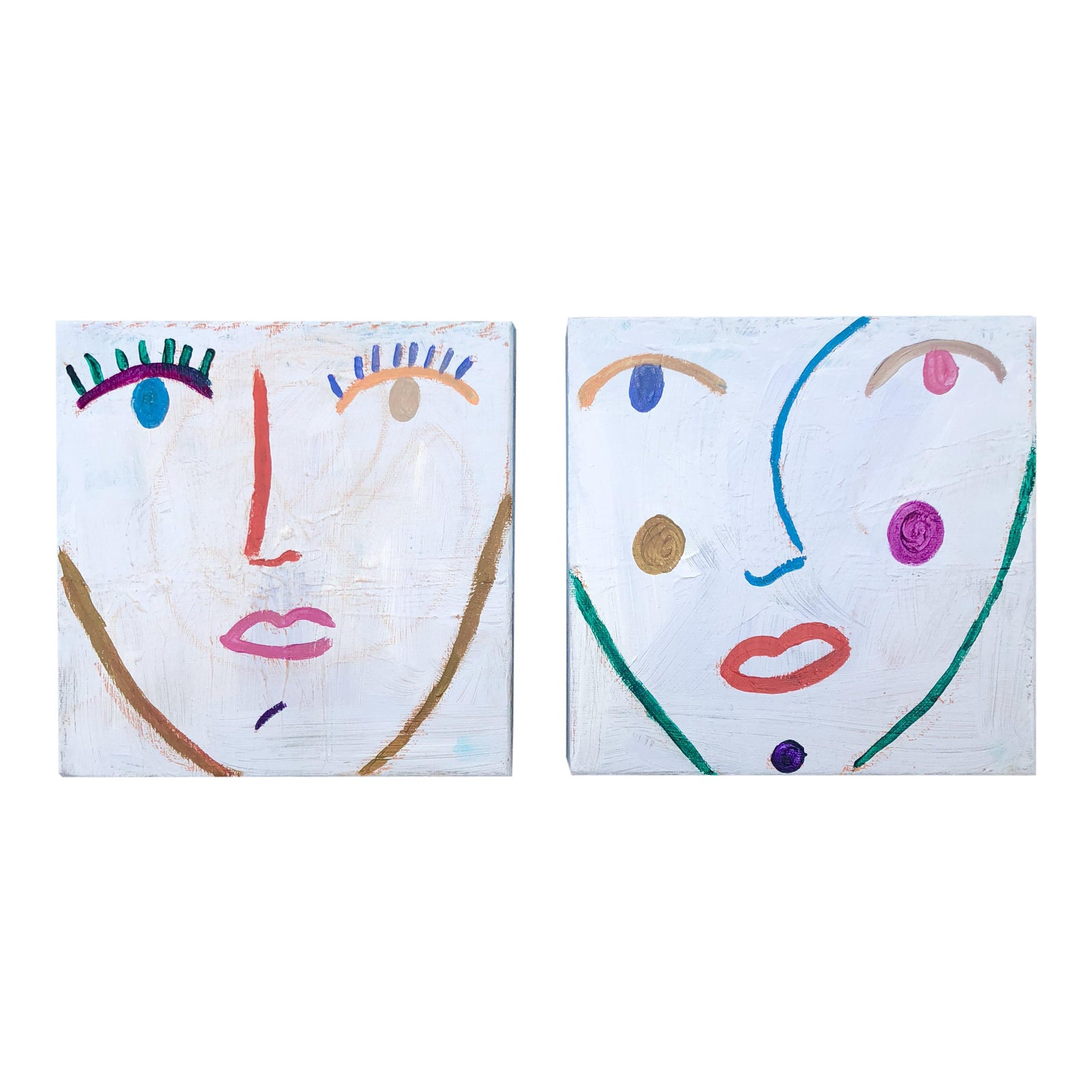Original Multi Colored Abstract Face Paintings A Pair
