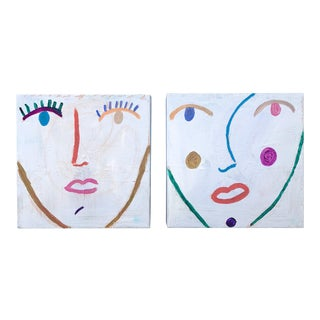 Original Multi-Colored Abstract Face Paintings, a Pair For Sale