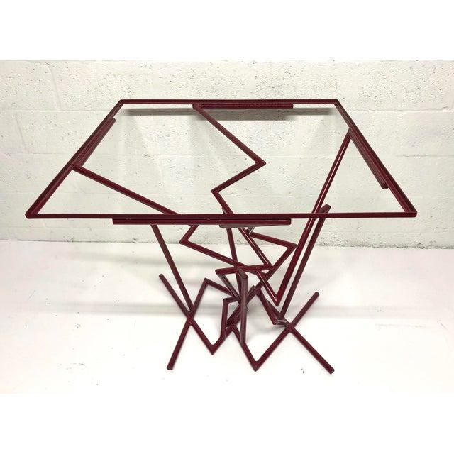 Metal Sculptural Enamel Metal Post Modern Table For Sale - Image 7 of 9