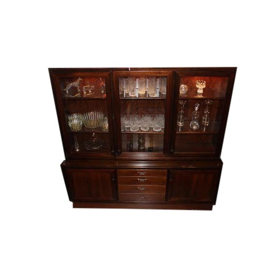Danish Modern Lighted Cabinet in Rosewood For Sale