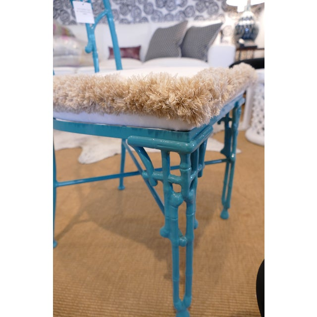 Teal Modern Teal Wrought Iron Outdoor Chair For Sale - Image 8 of 13