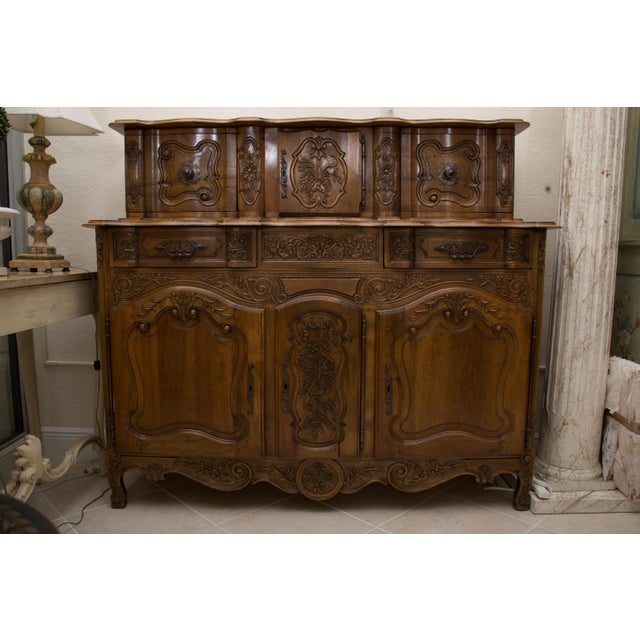 20th Century, French, Louis XV Style Walnut Buffet with Super Structure For Sale - Image 10 of 10