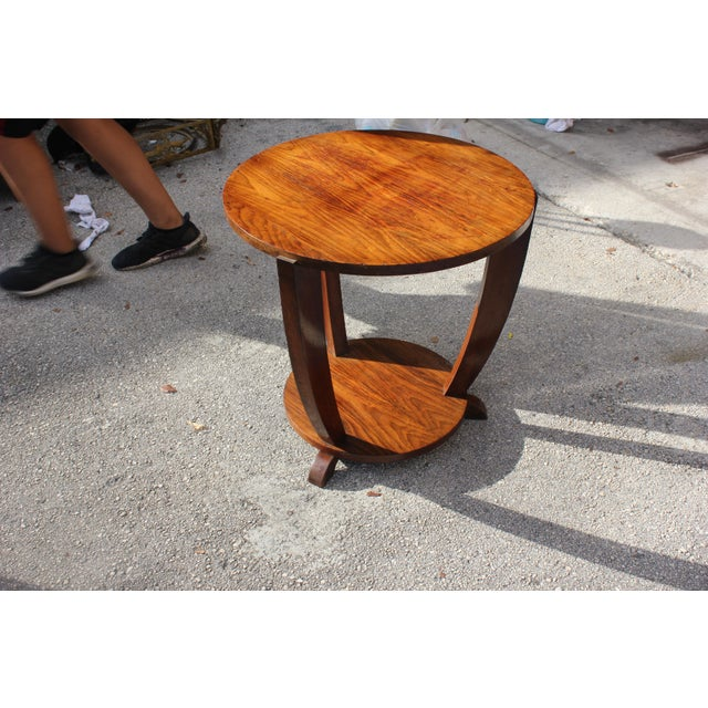 Beautiful French Art Deco Coffee Table or Side Table Exotic Walnut, circa 1940s For Sale - Image 4 of 10