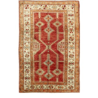 Antique Turkish Oushak Rug With Geometric Design in Red, Light Green, Orange and Cream For Sale