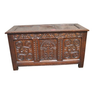 Early 18th Century English Carved Oak Blanket Chest For Sale