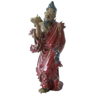 Fine Vintage Hand Painted Ceramic Figurine of Li, One of the Eight Chinese Immortals For Sale
