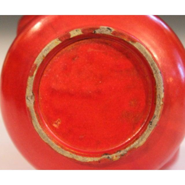 Awaji Pottery Japanese Art Deco Vase Crystalline Chrome Orange Red Glaze For Sale In New York - Image 6 of 11