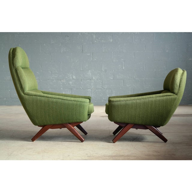 Danish Illum Wikkelso Style High and Low Lounge Chairs by Leif Hansen - a Pair For Sale - Image 10 of 13