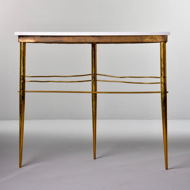 1960s Mid-Century Italian White Marble Top Console With Brass Base For Sale - Image 5 of 11