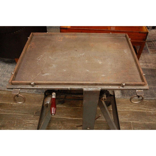 Industrial An Iron Adjustable Industrial Scissor Table For Sale - Image 3 of 9