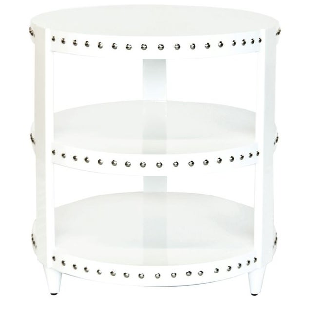 White Lacquer Studded Side Table - Image 1 of 3