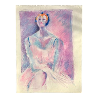 Vintage Pink and Purple Pastel Sketch of a Woman For Sale