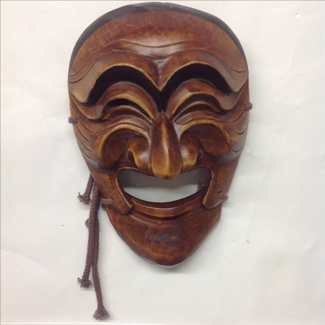 Vintage japanese carved boxwood theatre mask chairish