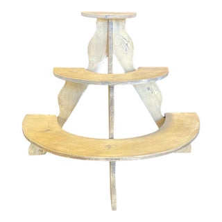 Early American Three Tiered Plant Stand With Original Paint For Sale