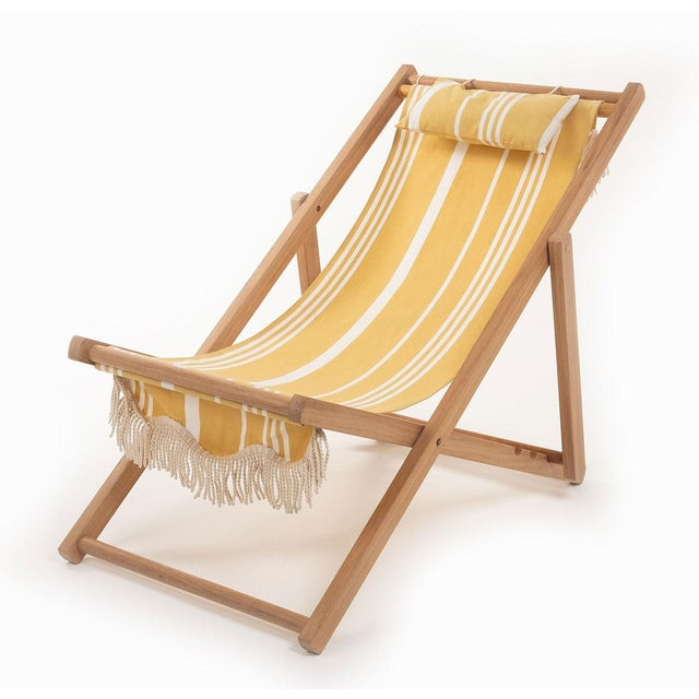 Business & Pleasure Sling Outdoor Chair - Vintage Yellow Stripe with Fringe For Sale - Image 4 of 4