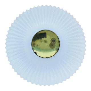 Textured Opaline Glass Round Flush Mount by Glashütte Limburg, 1960s, Germany For Sale