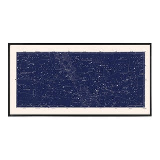 Vintage Navy Star Map in Custom Black Frame For Sale