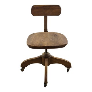 1940s Arts and Crafts Oak Swivel Office Chair