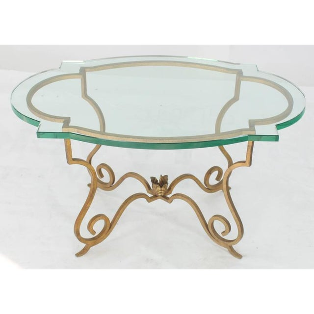 "Forged steel base scallop shape glass top side table. Hollywood Regency Mid-Century Modern style. 3/4"" thick beveled glass..."