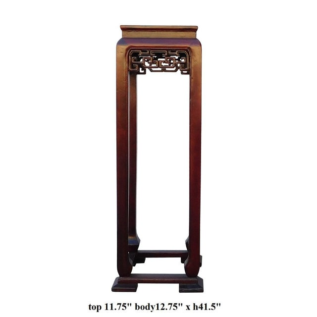 Oriental Plant Pedestal in Red Brown Stain - Image 5 of 5