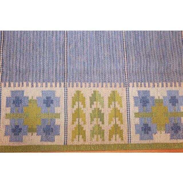 Mid 20th Century Vintage Mid-Century Berit Woelfer Swedish Kilim Rug - 6′6″ × 9′2″ For Sale - Image 5 of 7