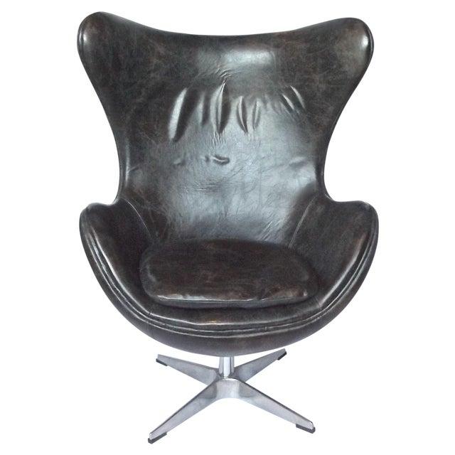Groovy Vintage Arne Jacobson Style Leather Egg Chair Ibusinesslaw Wood Chair Design Ideas Ibusinesslaworg