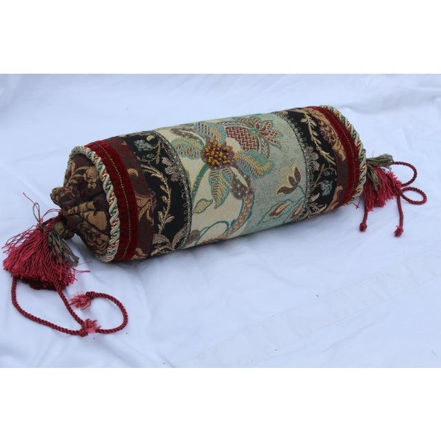 Contemporary Multicolored Floral Tapestry Bolster With Tassles and Cords For Sale - Image 13 of 13